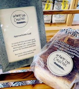 Bellegarde Bakery loaf with sign explaining The Bread Lab Collective