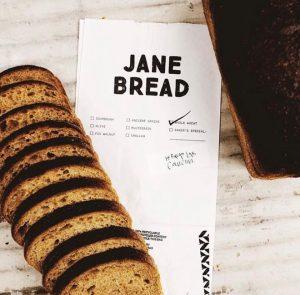 Sliced bread on top of paper bag packaging