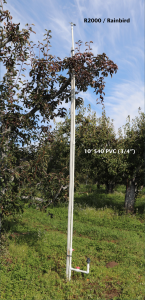 Image shows a complete over-tree and under-tree unit in the orchard, labeling the R200/Rainbird sprinkler at the top and the 10' S40 3/4 inch PVC pipe used for the riser.