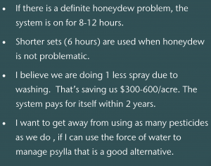 Quote text box: (quote 1) If there is a definite honeydew problem, the system is on for 8-12 hours. (quote 2) Shorter sets (6 hours) are used when honeydew is not problematic. (quote 3) I believe we are doing 1 less spray due to washing. That's saving us $300 to $600 per acre. The system pays for itself within 2 years. (quote 4) I want to get away from using as many pesticides as we do, if I can use the force of water to manage psylla that is a good alternative.