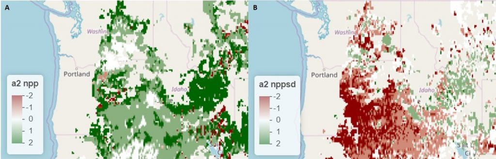 Two maps of US Pacific NW. Map A shows mostly green. Map B includes mostly red.
