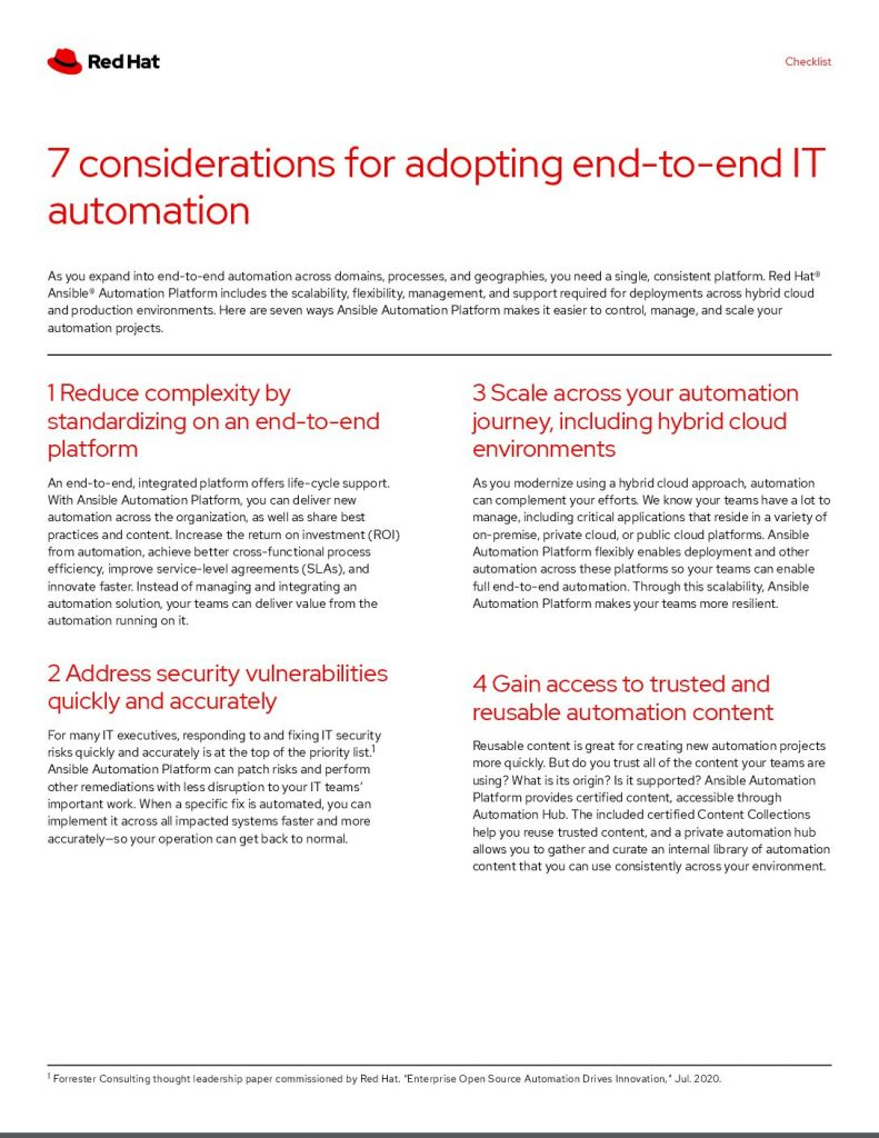 7 considerations for adopting end-to-end IT automation