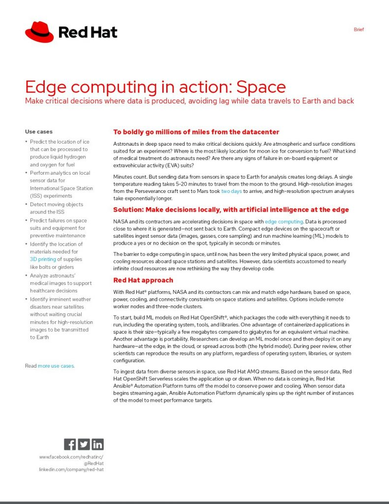 Edge Computing in Action: Space