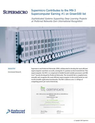 Supermicro Contributes to the MN-3 Supercomputer Earning #1 on Green500 list