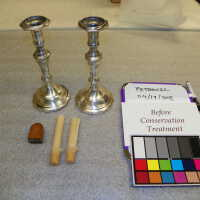 Candlestick Holders, Wooden Icon Diptych