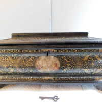 Medieval Painted Gilt Box with Key