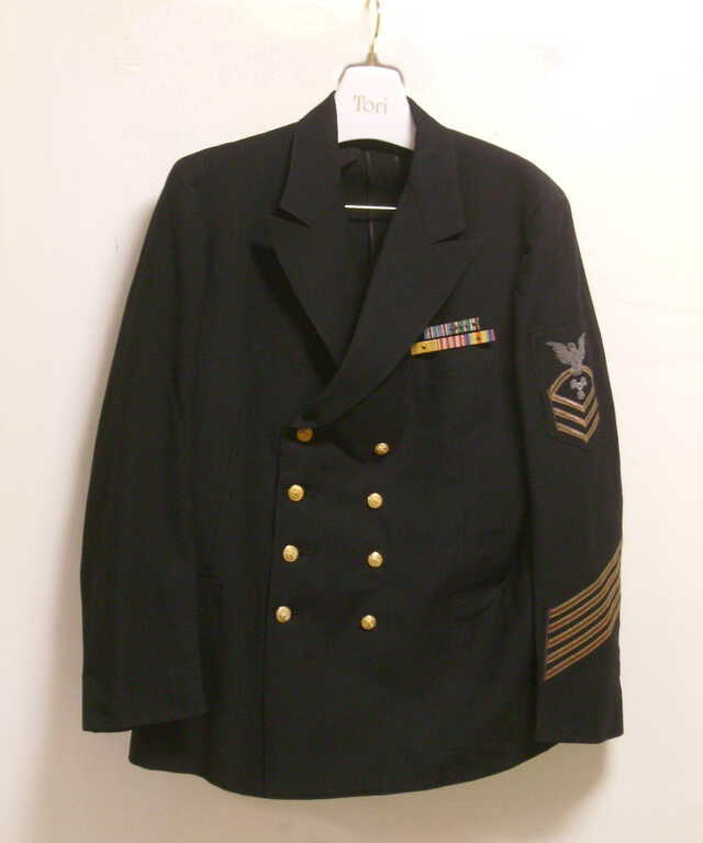1000067 Jacket 2; Dress CPO Jacket with Propulsion Devices and 5 Gold Service Stripes
