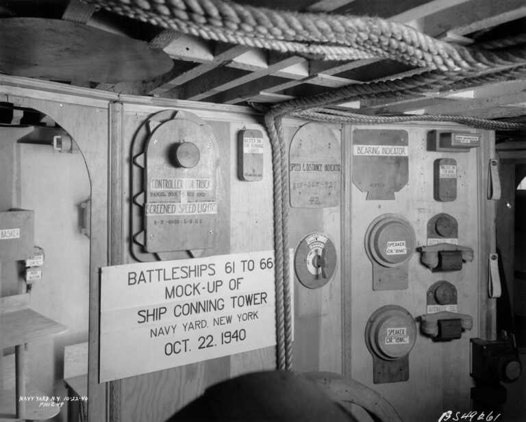 Iowa Class BB-61 through BB-66 builders mock-up of the conning tower - October 22, 1940 - F1111C49 picture number 1
