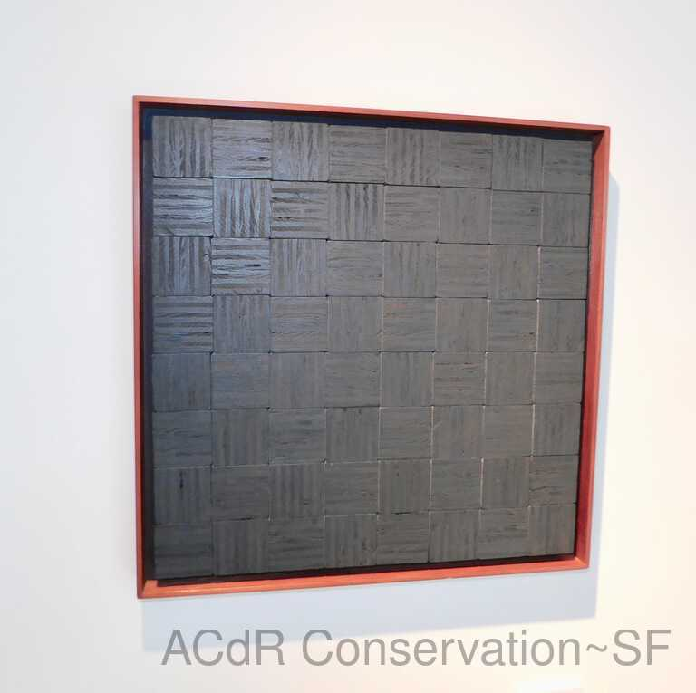 Gray textured wood with red border picture number 1