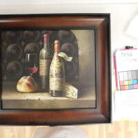 Still life with wine, bread, and cheese