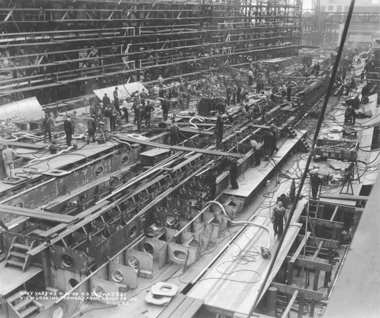 USS Iowa looking forward from Frame 106 showing the triple hull bottom under construction - September 30, 1940 - F1111C21 picture number 1