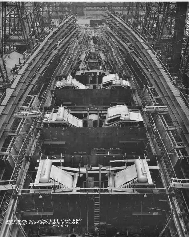 USS Iowa under construction looking aft from Frame 127 showing 6 of 8 boilers and 3 of 4 fire rooms - April 1, 1941 - F1111C73 picture number 1