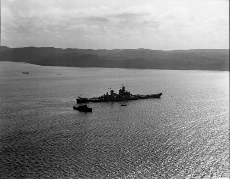 IOWA anchored in Biscay Bay, Newfoundland. September / October 1943. 80-G-471992. picture number 1
