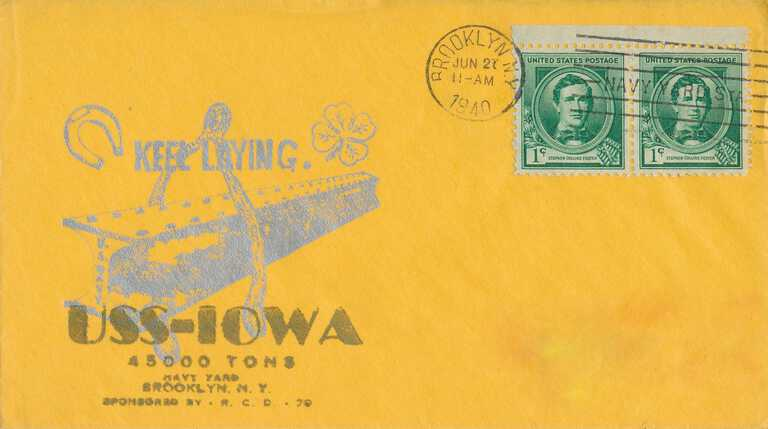 USS Iowa postal cover of keel laying - June 21, 1940. picture number 1
