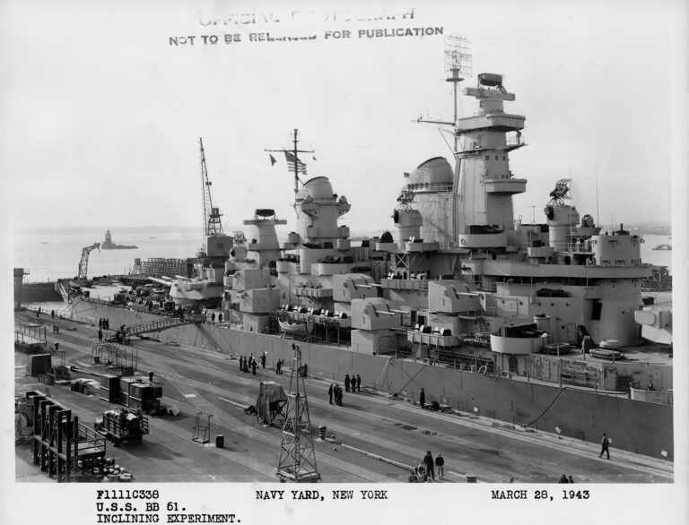 Starboard view of USS Iowa in Bayone NJ dry dock for inclining experiments. March 28, 1943 - F1111C338. picture number 1