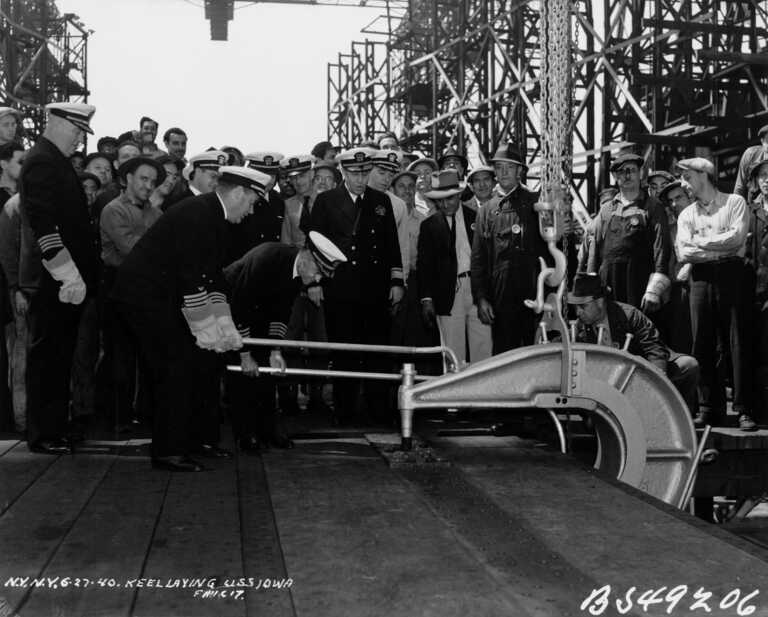 USS Iowa ceremonial keel laying with workers & shipyard officials at New York Navy Yard, Brooklyn - June 27, 1940 - F1111C17 picture number 1