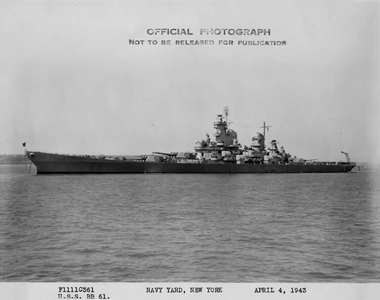USS Iowa anchored off New York, wearing Measure 22 camouflage. April 4, 1943 - F1111C361. picture number 1