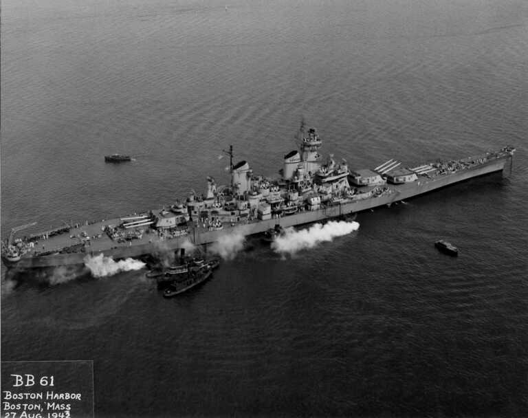 IOWA at anchor off Boston preparing to depart for Newfoundland. August 27, 1943 - 80-G-76243 picture number 1