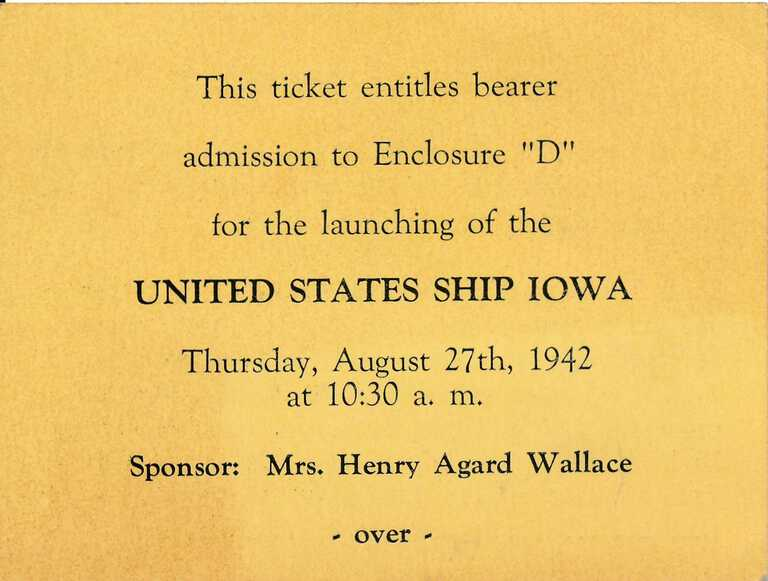 USS Iowa launch admission ticket at the Brooklyn Navy Yard (front) - August 27, 1942. picture number 1