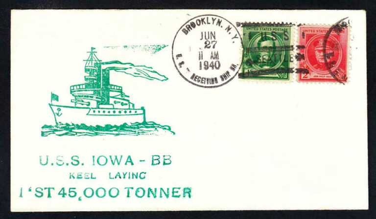 USS Iowa postal cover of keel laying - June 27, 1940. picture number 1