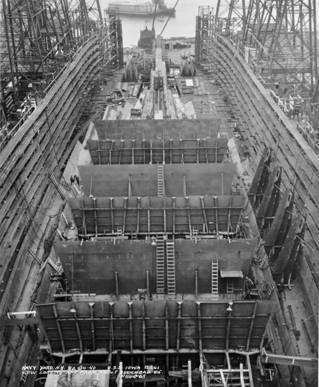 USS Iowa looking aft from Frame 95 showing bulkheads rising from the hull's triple bottom - December 30, 1940 - F1111C68 picture number 1