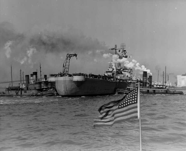 USS Iowa being tugged from Bayone NJ dry dock to Gravesend Bay. March 29, 1943 - US Navy photo. picture number 1