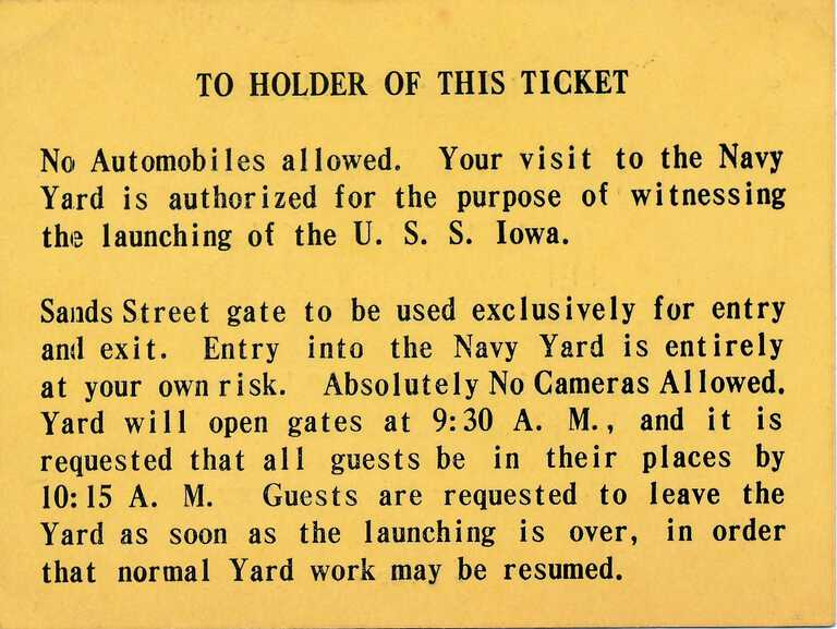 USS Iowa launch admission ticket at the Brooklyn Navy Yard (back) - August 27, 1942. picture number 1