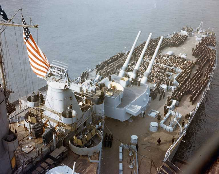 IOWA's crew and guests are assembled on her stern for the Commissioning ceremony. February 22, 1943 - 80-G-K-825 picture number 1