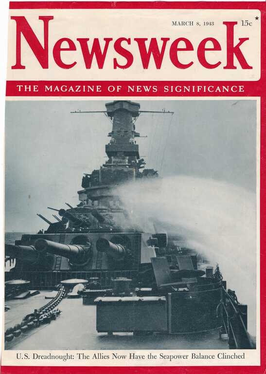 Unidentified IOWA featured on the Newsweek's March 8, 1943 cover while on trials. Note the radar is not shown. picture number 1