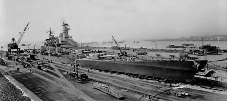 Full view of USS Iowa in Bayone NJ dry dock for inclining experiments. March 28, 1943 - F1111C341. picture number 1