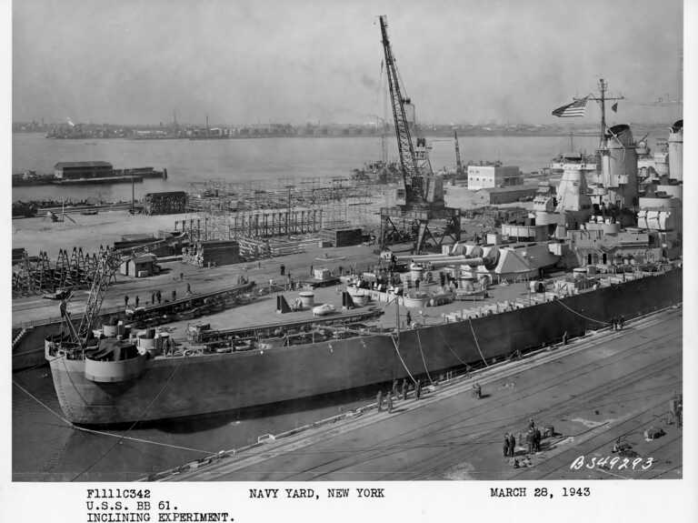 Stern view of USS Iowa in Bayone NJ dry dock for inclining experiments. March 28, 1943 - F1111C342. picture number 1