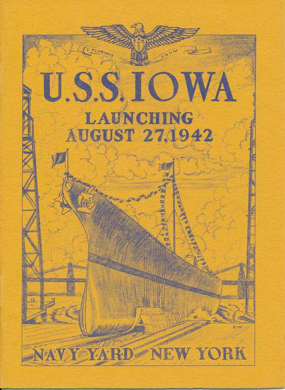 USS Iowa Launching program cover - Brooklyn Navy Yard, New York - August 27, 1942 picture number 1
