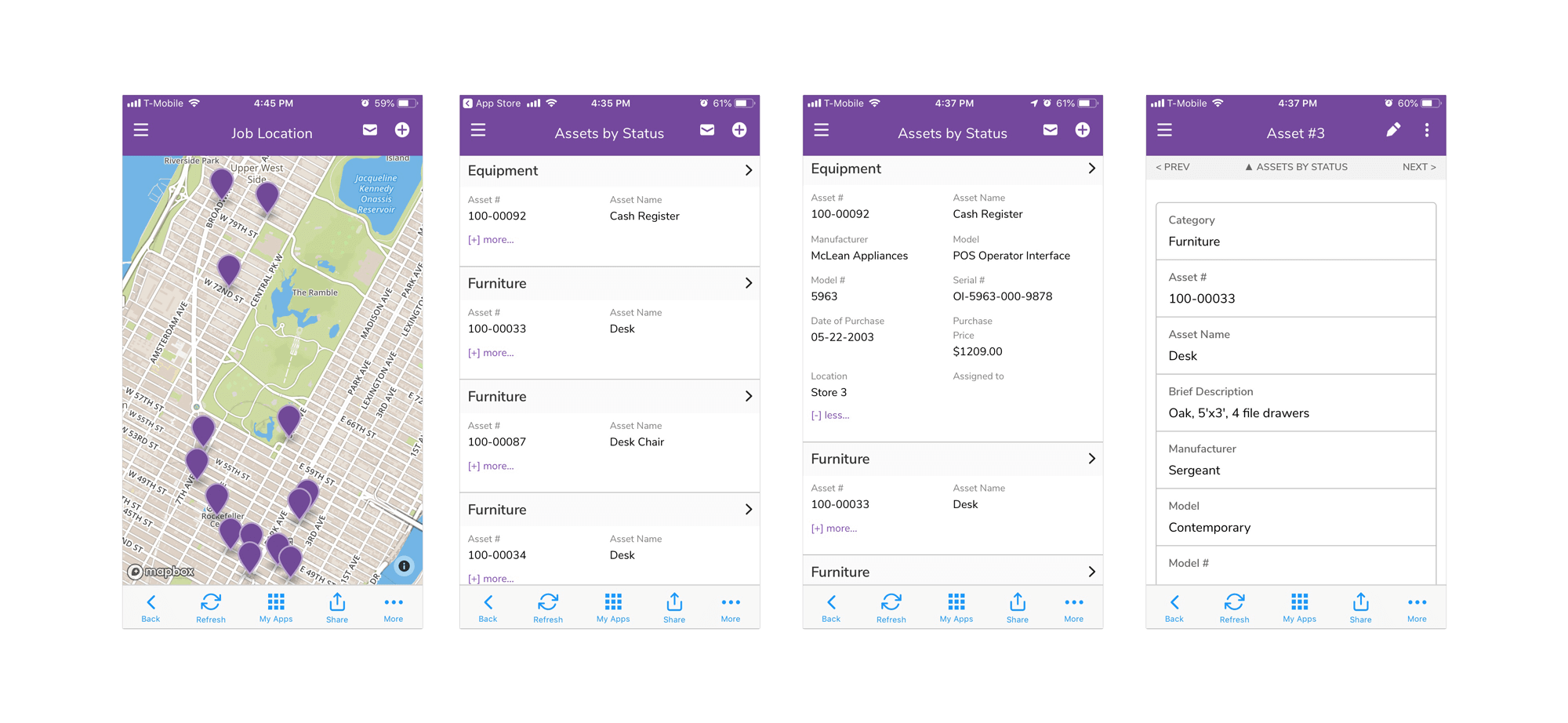 Quickbase App Construction Assets by Status Mobile