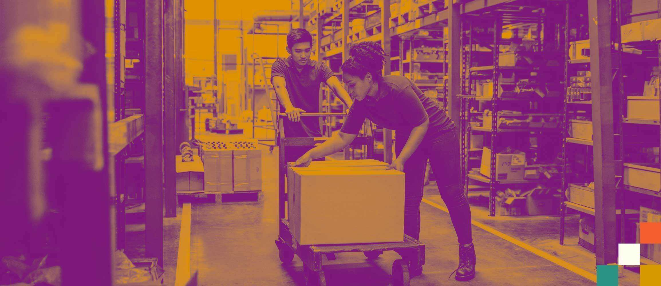 duotone workers in warehouse packing boxes