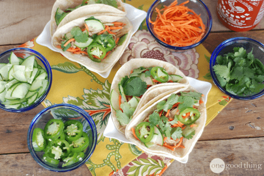 Bahn Mi Inspired Dump Chicken Tacos