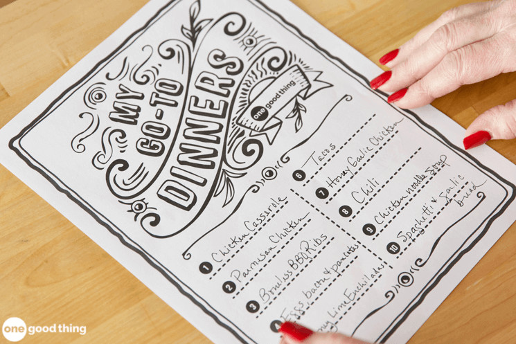 """My Go-To Dinners"" Printable List"