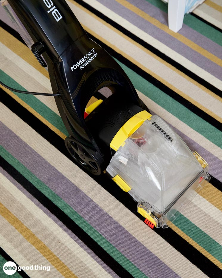 A carpet cleaner using water and borax to clean a carpet