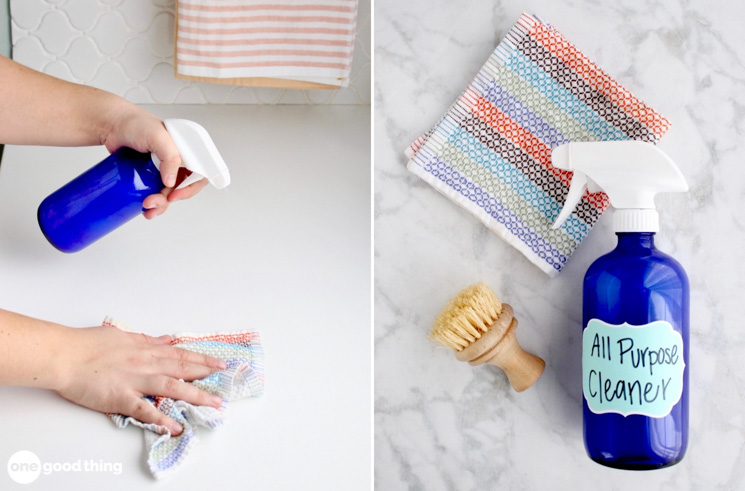 A collage showing a borax cleaning spray being sprayed on to countertop alongside a spray bottle, cleaning brush, and cleaning cloth