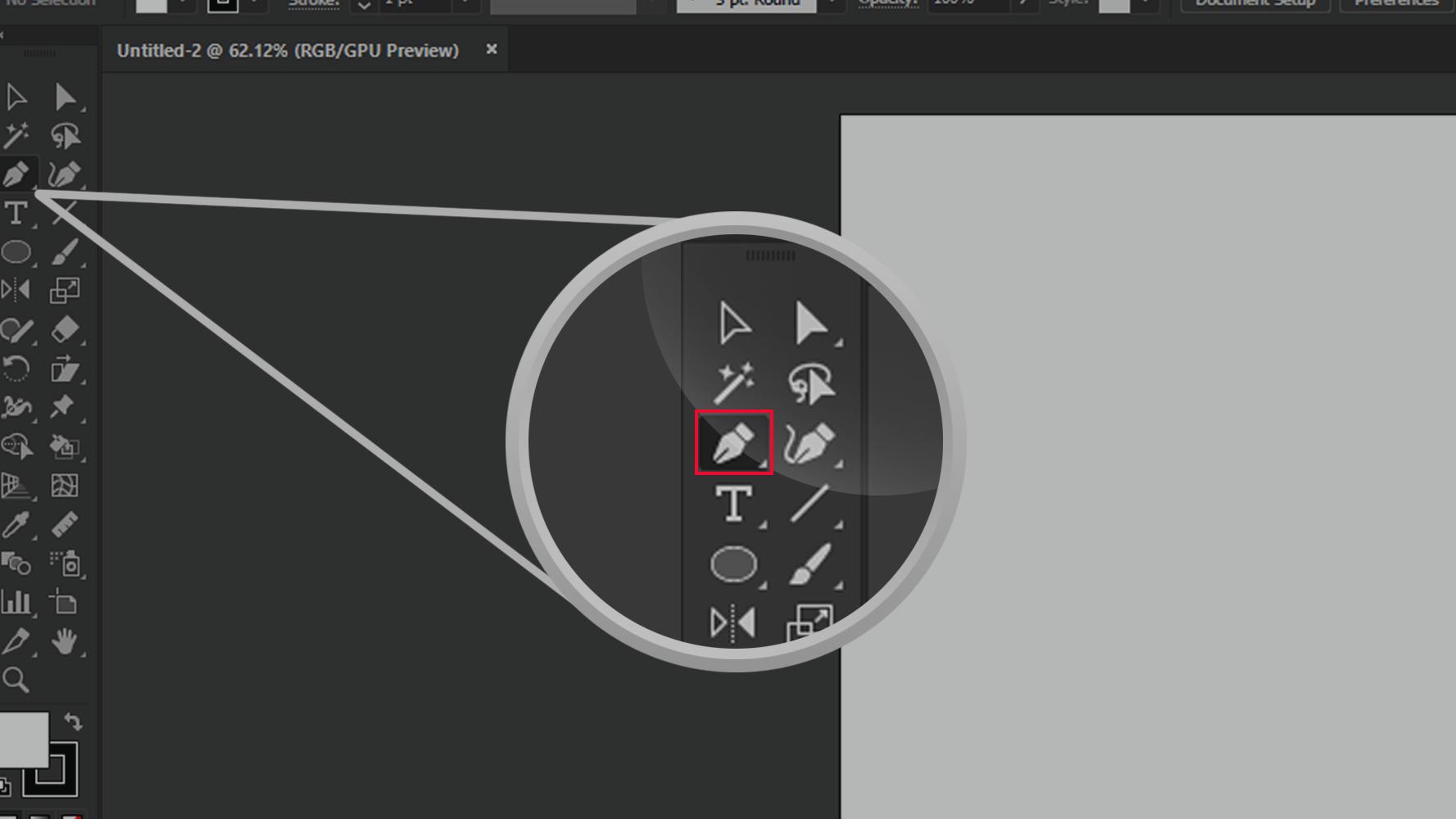 Adobe Illustrator Zoomed In Pen Tool Icon