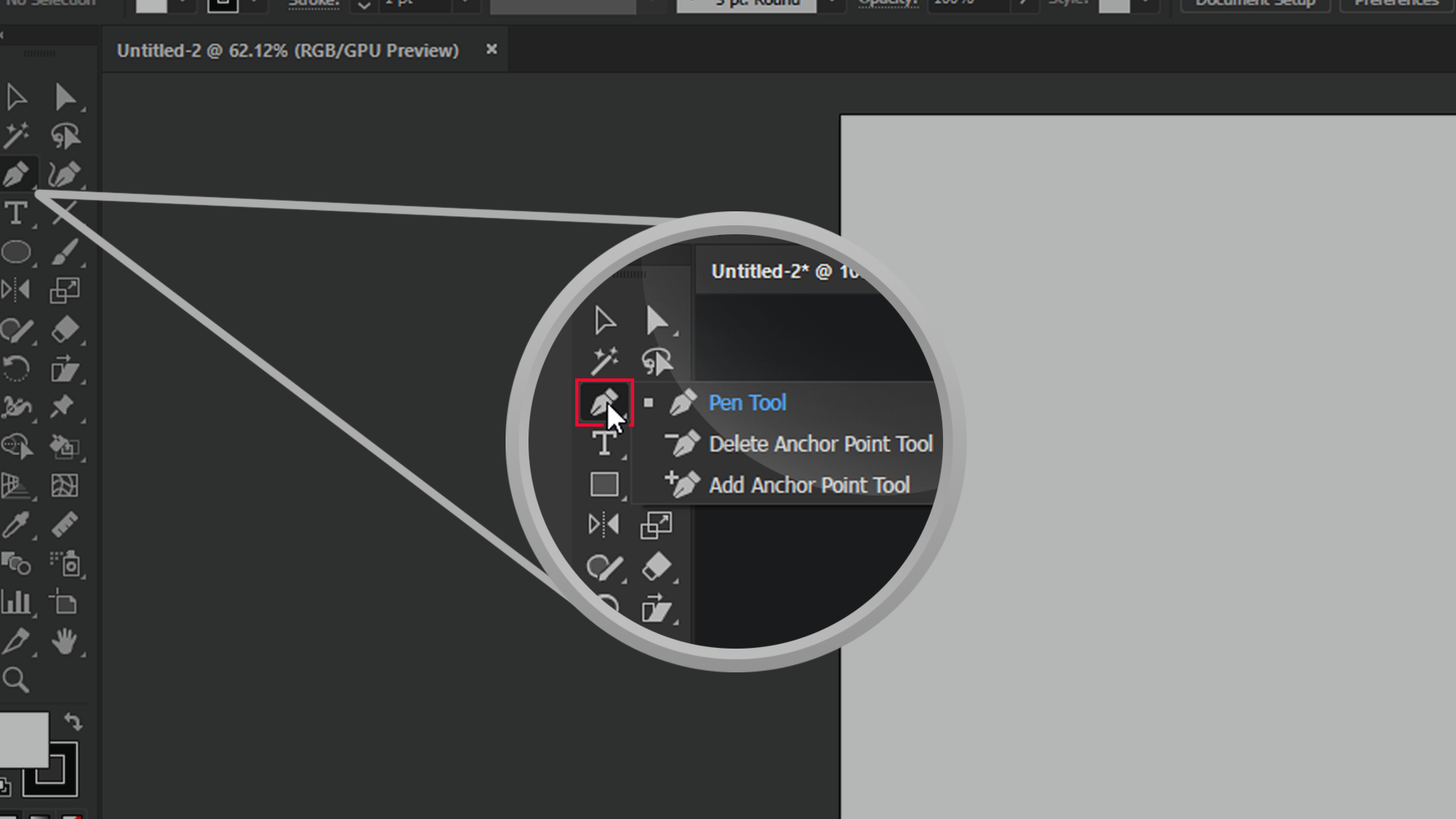 Adobe Illustrator Pen Tool Delete Anchor Point Icon