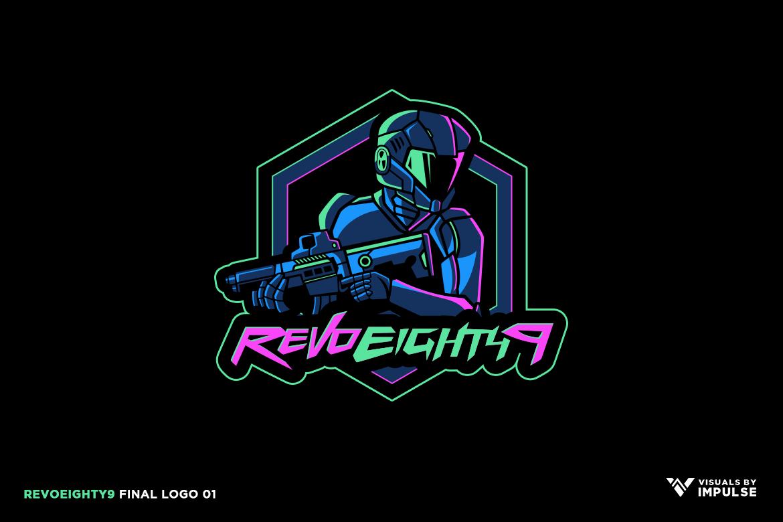 RevoEighty9 Logo futuristic Soldier in helmet with blaster