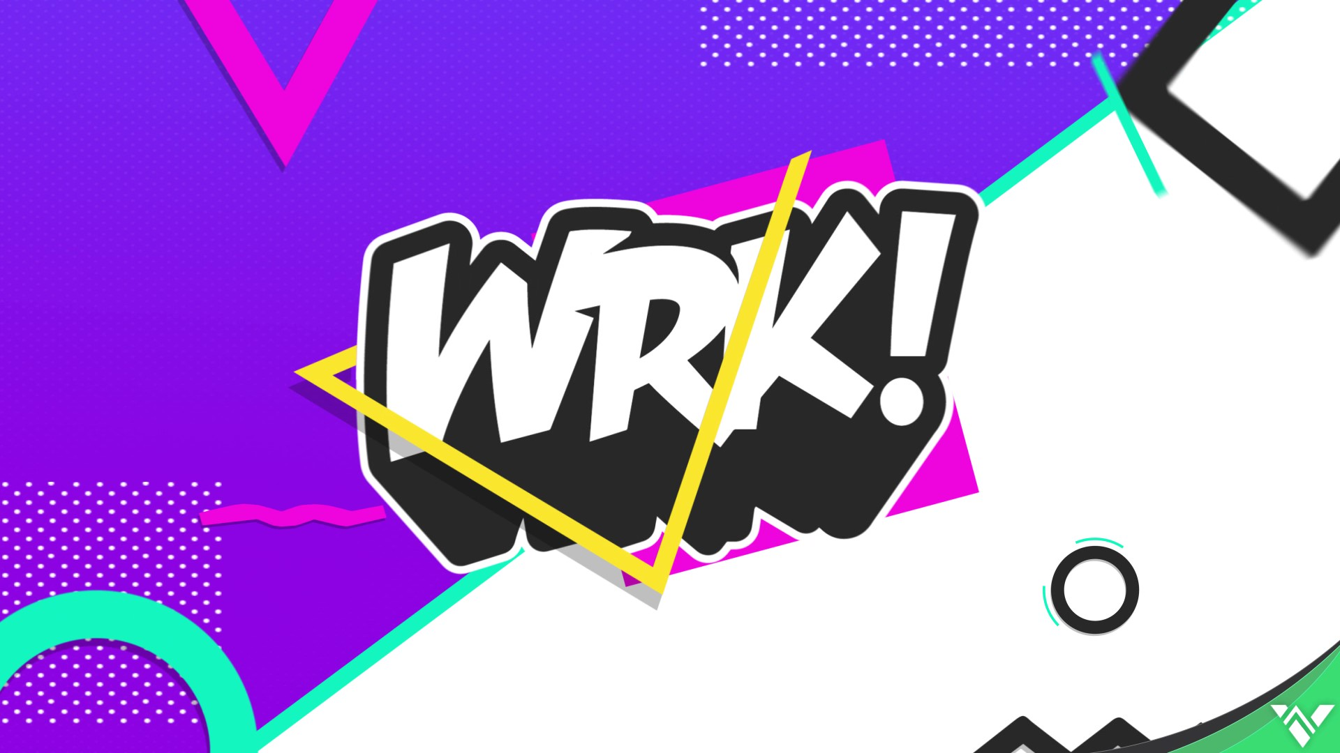 WRK Logo over Purple White Background and shapes