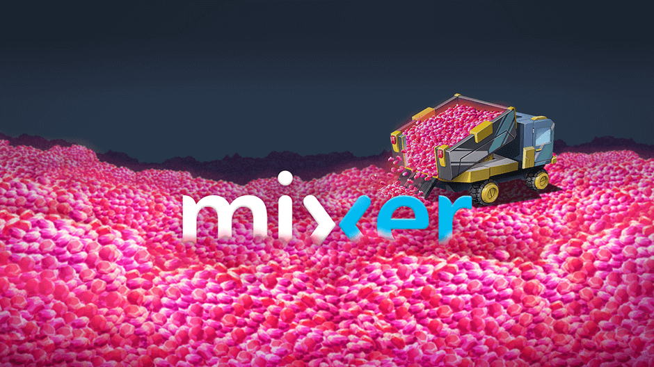 pink mixer embers piled from dump truck