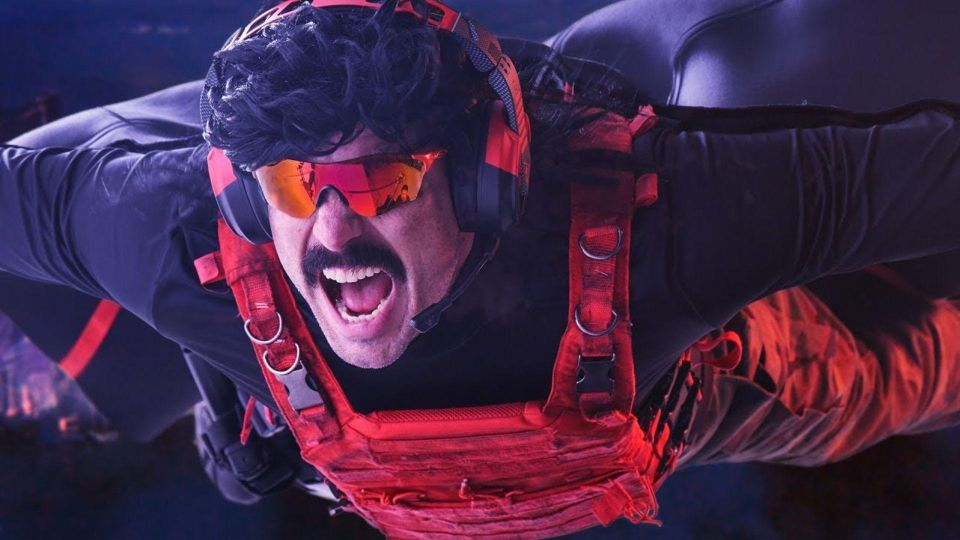 dr disrespect laughing while skydiving with cloak and red vest