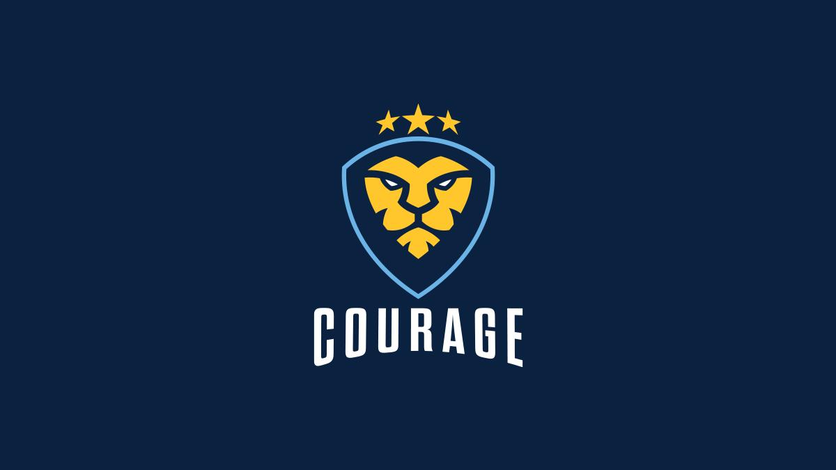 CouRage golden Lion Logo vertical lockup over blue background
