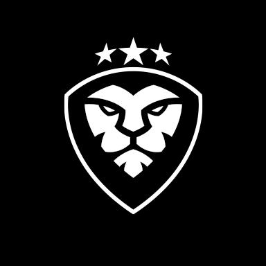 Courage lion Logomark white over black background