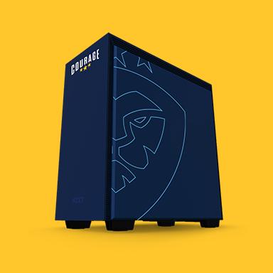 Courage navy logo skin on gaming pc tower