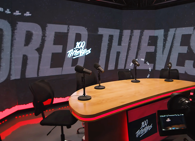 100 Thieves Podcast Studio with Desk and Video Wall