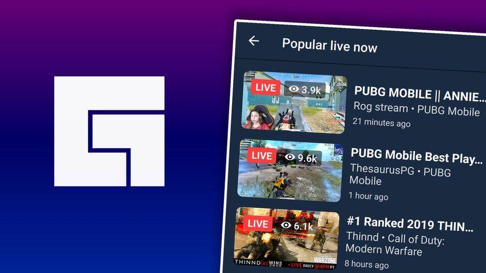 Facebook gaming logo and app over phone screen