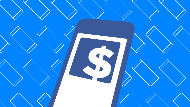 Dollar sign on phone over blue background with mobile devices